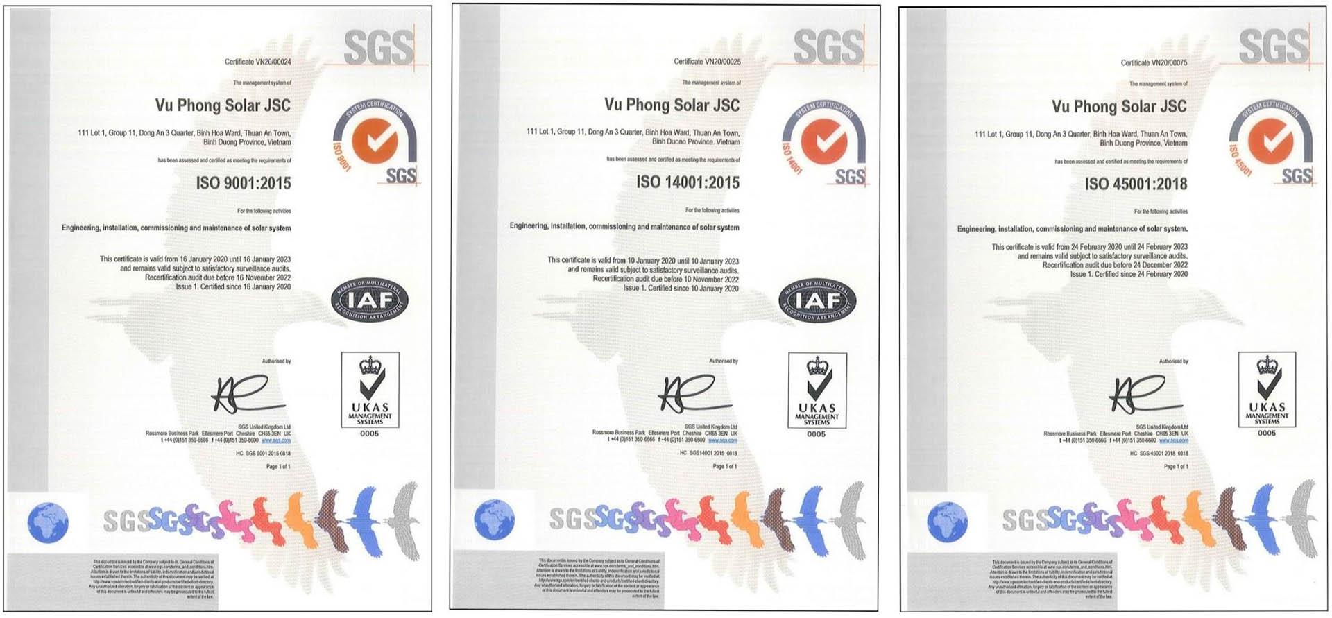 Ảnh: Các chứng nhận ISO của Vũ Phong Solar.